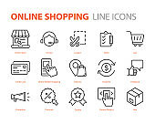 set of online shopping icons, marketing, payment, delivery, e-commerce