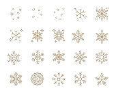 set of snowflake thin line icons, christmas, new year, snow