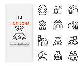 set of working icons, teamwork, collaboration, job