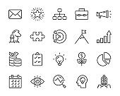 set of business icons, strategy, start up, planning, organization