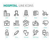 set of hospital icons, medical, health, treatment, cure