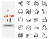 set of people line icons, team, work, meeting, teamwork, consultant