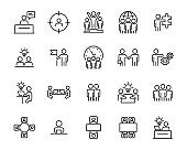 set of people icons, teamwork, meeting, training, working