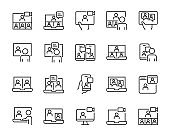 set of meeting online icons, video conference