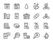 set of medicine icons, medical, pharmacy, drug store