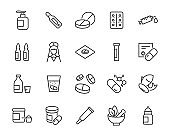 set of medicine icons, pills, capsule, drug store, pharmacy