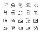 set of food delivery icons, restaurant, customer service