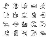set of food delivery icons, restaurant, ecommerce, online shopping