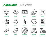 set of cannabis icons, medicine, health, drug