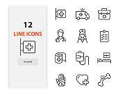 set of hospital icons, health, doctor, nurse, emergency