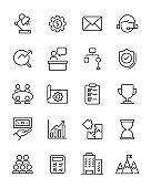set of business thin line icons, management, organization, planning, start up