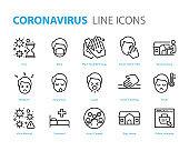 set of coronavirus icons, virus, wash hand, flu, ill