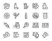 set of medicine icons, tablet, pill, pharmacy, capsule