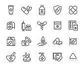 set of medicine icons, pharmacy, drug, pill