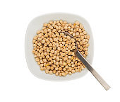 Uncooked raw chickpeas in a plate with spoon