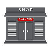 Store icon. Vector illustration of business concept, modern flat design, discount sales.