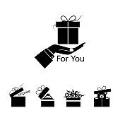gift box on hand, badges with black fill, set of gifts on a white background, vector illustration