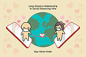 Long distance relationship connecting by smartphone in social distancing time