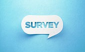 Survey Written White Chat Bubble On Blue Background