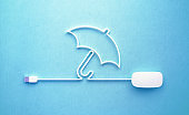 White Mouse Cable Forming an Umbrella Symbol On Blue Background