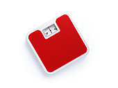 Red Bathroom Scale on White Background