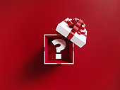 Question Mark Coming Out Of A White Gift Box Tied With Red Ribbon