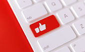 Modern Keyboard Button with Thumbs Up Icon - Social Media Concept