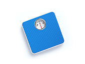Blue Bathroom Scale on White Background