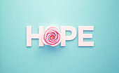 Pink Rose and Hope Text Sitting on Blue Background