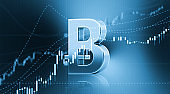 Bitcoin Sitting in Front of Bar Graph - Stock Market and Finance Concept
