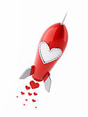 Red Rocket with Heart Shaped Window Isolated on White Background