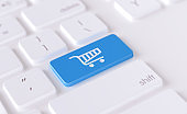 Modern Keyboard Button with Shopping Cart Icon - Online shopping Concept