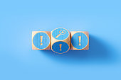 Exclamation Point Written Blue Wood Blocks Sitting over Blue Background