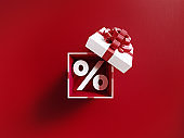 Percentage Sign Coming Out Of A White Gift Box Tied With Red Ribbon