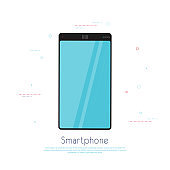 Black smartphone with empty touch screen, new model