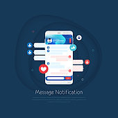 Chat Messages on Mobile Phone Flat Design. Message Notification and Speech Bubbles Text Vector Design