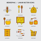 Linear beekeeping icons.