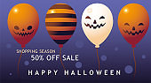 happy halloween shopping season with pumpkins balloons vector design
