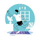 man training at home for quarantine