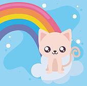 Cute cat cartoon and rainbow vector design
