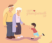 Grandmother and grandfather with grandson of happy grandparents day vector design