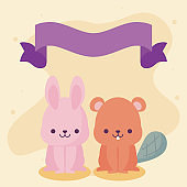 Cute rabbit and beaver cartoons vector design