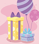 Gifts with bowties and balloons vector design
