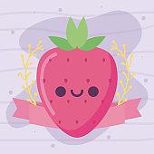 kawaii strawberry fruit cartoon vector design