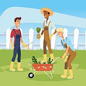 gardener men cartoons with flowers wheelbarrow vector design