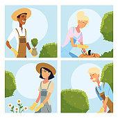 gardeners women and men cartoons with plants vector design