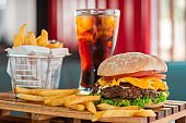 measure fast food, kitchen drinks, Fresh burger and french fries