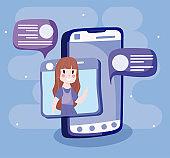 Girl cartoon with smartphone vector design