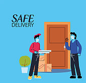 men with masks delivering and receiving secure package
