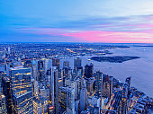New York City Skyline and WTC with East River in sunset, aerial photography